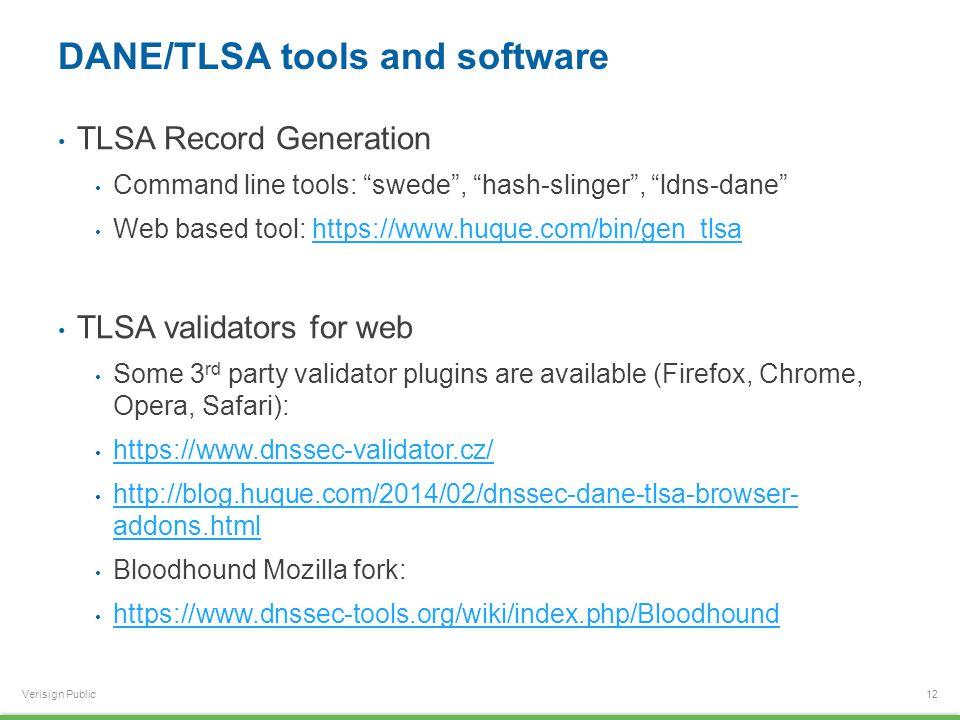 "Verisign Public DANE/TLSA tools and software TLSA Record Generation Command line tools: ""swede"", ""hash-slinger"", ""ldns-dane"" Web based tool: https://w"