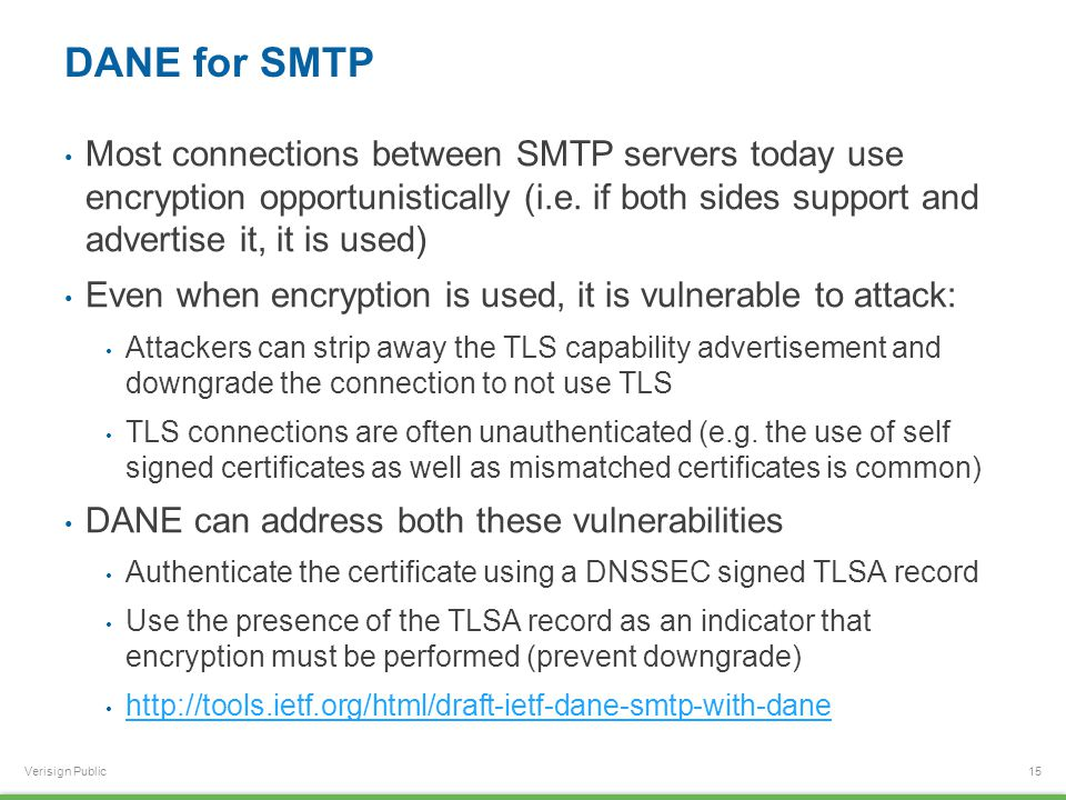 Verisign Public DANE for SMTP Most connections between SMTP servers today use encryption opportunistically (i.e. if both sides support and advertise i