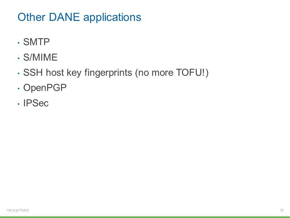 Verisign Public Other DANE applications SMTP S/MIME SSH host key fingerprints (no more TOFU!) OpenPGP IPSec 19