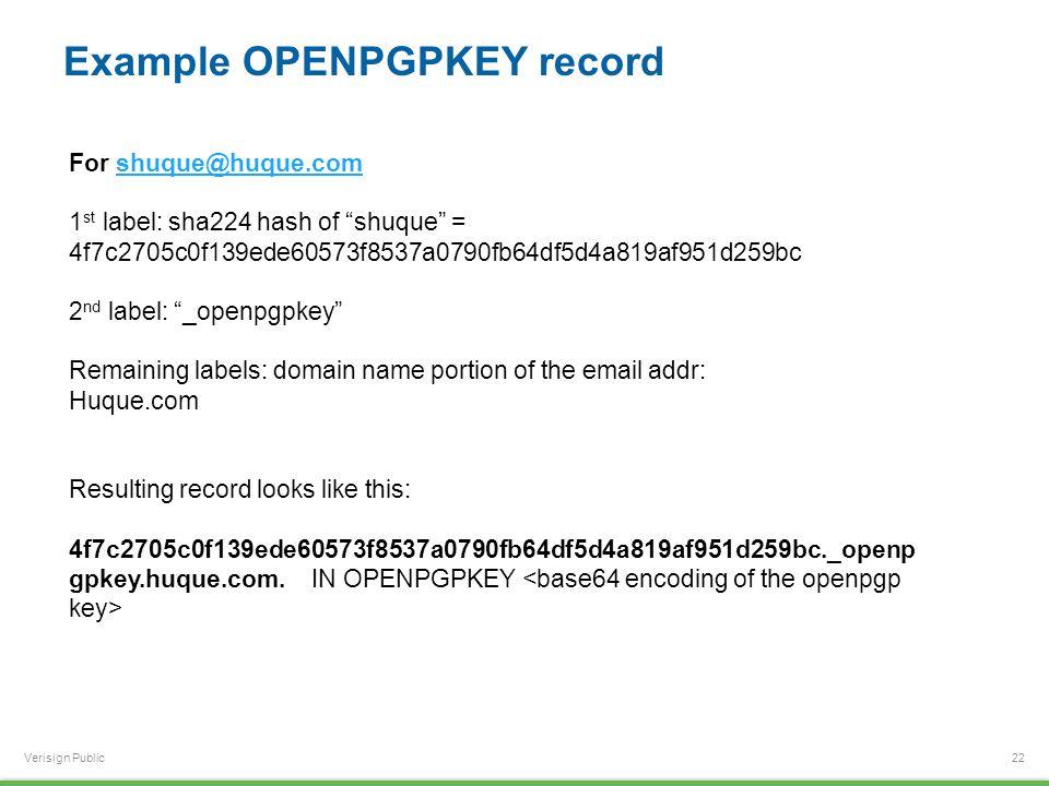 Verisign Public Example OPENPGPKEY record 22 For shuque@huque.comshuque@huque.com 1 st label: sha224 hash of shuque = 4f7c2705c0f139ede60573f8537a0790fb64df5d4a819af951d259bc 2 nd label: _openpgpkey Remaining labels: domain name portion of the email addr: Huque.com Resulting record looks like this: 4f7c2705c0f139ede60573f8537a0790fb64df5d4a819af951d259bc._openp gpkey.huque.com.