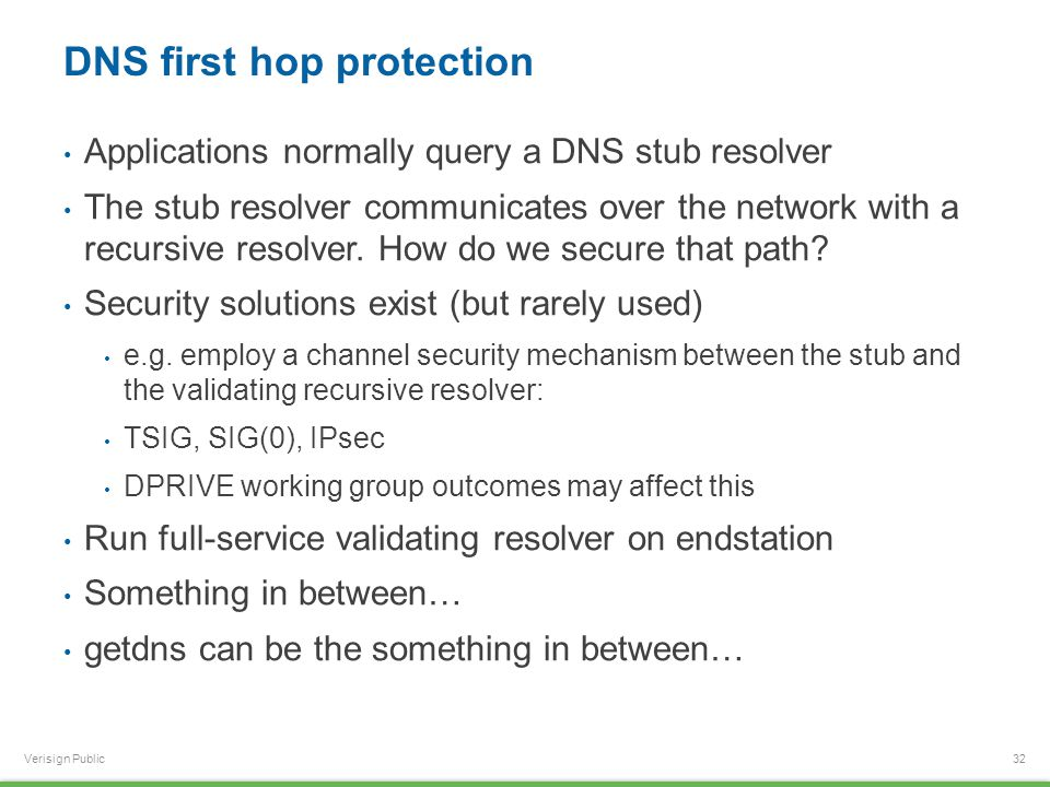 Verisign Public DNS first hop protection Applications normally query a DNS stub resolver The stub resolver communicates over the network with a recurs