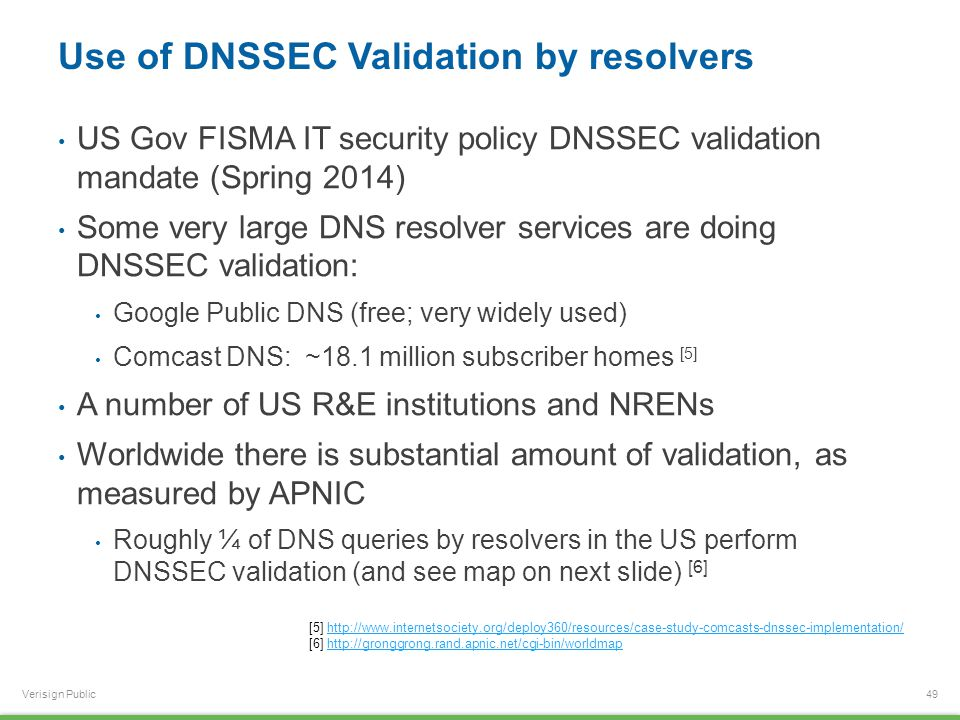 Verisign Public Use of DNSSEC Validation by resolvers US Gov FISMA IT security policy DNSSEC validation mandate (Spring 2014) Some very large DNS resolver services are doing DNSSEC validation: Google Public DNS (free; very widely used) Comcast DNS: ~18.1 million subscriber homes [5] A number of US R&E institutions and NRENs Worldwide there is substantial amount of validation, as measured by APNIC Roughly ¼ of DNS queries by resolvers in the US perform DNSSEC validation (and see map on next slide) [6] 49 [5] http://www.internetsociety.org/deploy360/resources/case-study-comcasts-dnssec-implementation/http://www.internetsociety.org/deploy360/resources/case-study-comcasts-dnssec-implementation/ [6] http://gronggrong.rand.apnic.net/cgi-bin/worldmaphttp://gronggrong.rand.apnic.net/cgi-bin/worldmap