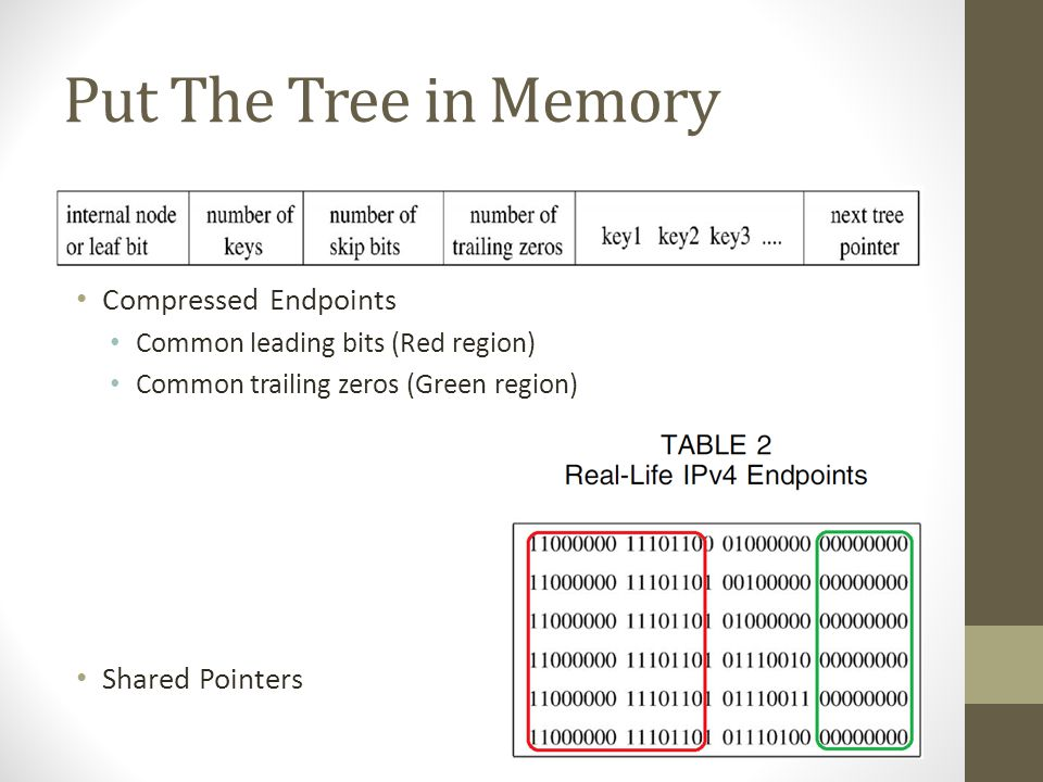 Put The Tree in Memory Compressed Endpoints Common leading bits (Red region) Common trailing zeros (Green region) Shared Pointers