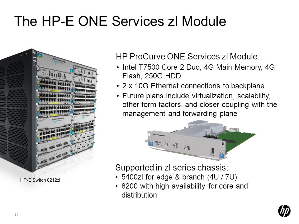 34 The HP-E ONE Services zl Module HP ProCurve ONE Services zl Module: Intel T7500 Core 2 Duo, 4G Main Memory, 4G Flash, 250G HDD 2 x 10G Ethernet con