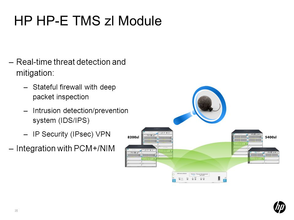 35 HP HP-E TMS zl Module –Real-time threat detection and mitigation: –Stateful firewall with deep packet inspection –Intrusion detection/prevention sy