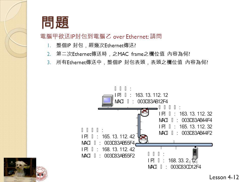 Lesson 4-12 資 管 問題 電腦甲欲送 IP 封包到電腦乙 over Ethernet: 請問 1.