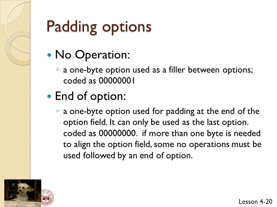 Lesson 4-20 資 管 Padding options No Operation: ◦ a one-byte option used as a filler between options; coded as 00000001 End of option: ◦ a one-byte option used for padding at the end of the option field.