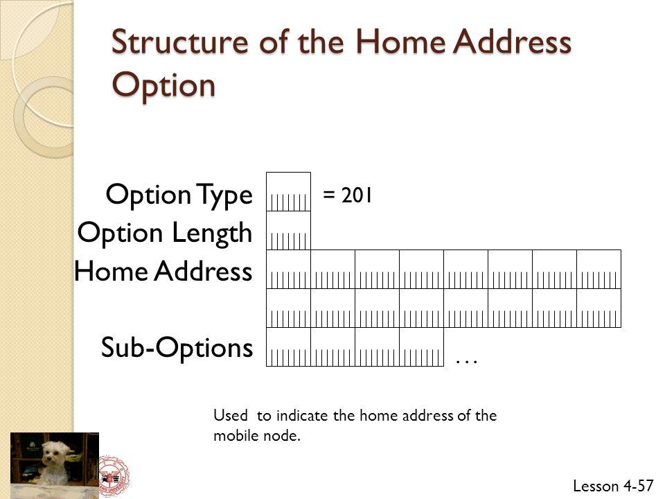 Lesson 4-57 資 管 Option Type Option Length Home Address Sub-Options = 201...