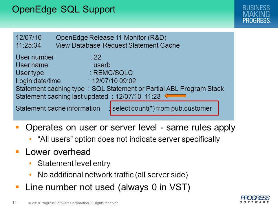 "© 2010 Progress Software Corporation. All rights reserved. 14 OpenEdge SQL Support  Operates on user or server level - same rules apply ""All users"" o"