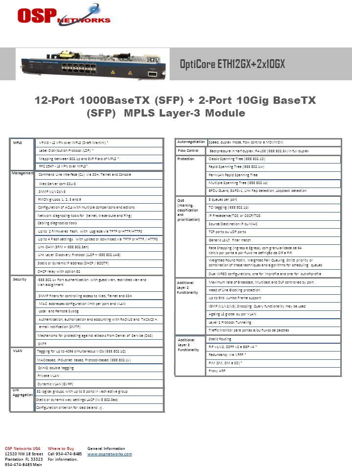 Command Line Interface (CLI) via SSH, Telnet and Console Web Server com SSLv3 SNMP v1/v2c/v3 RMON grupos 1, 2, 3 and 9 Configuration of ACLs with mult