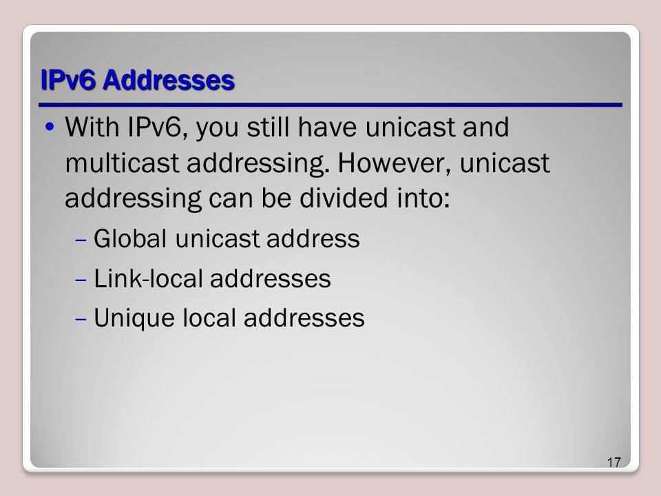 IPv6 Addresses With IPv6, you still have unicast and multicast addressing.