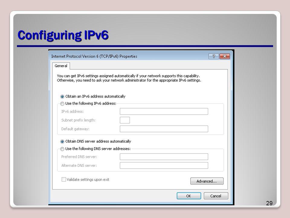 Configuring IPv6 29