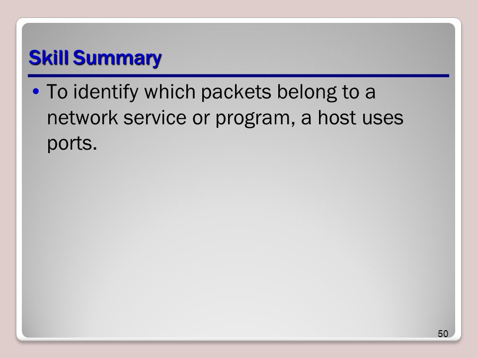 Skill Summary To identify which packets belong to a network service or program, a host uses ports.