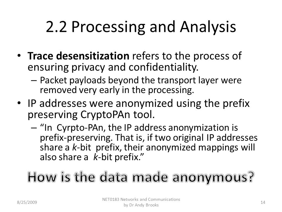 2.2 Processing and Analysis Trace desensitization refers to the process of ensuring privacy and confidentiality.