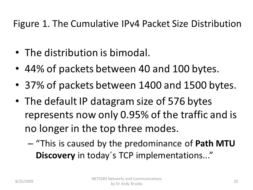 Figure 1. The Cumulative IPv4 Packet Size Distribution The distribution is bimodal.