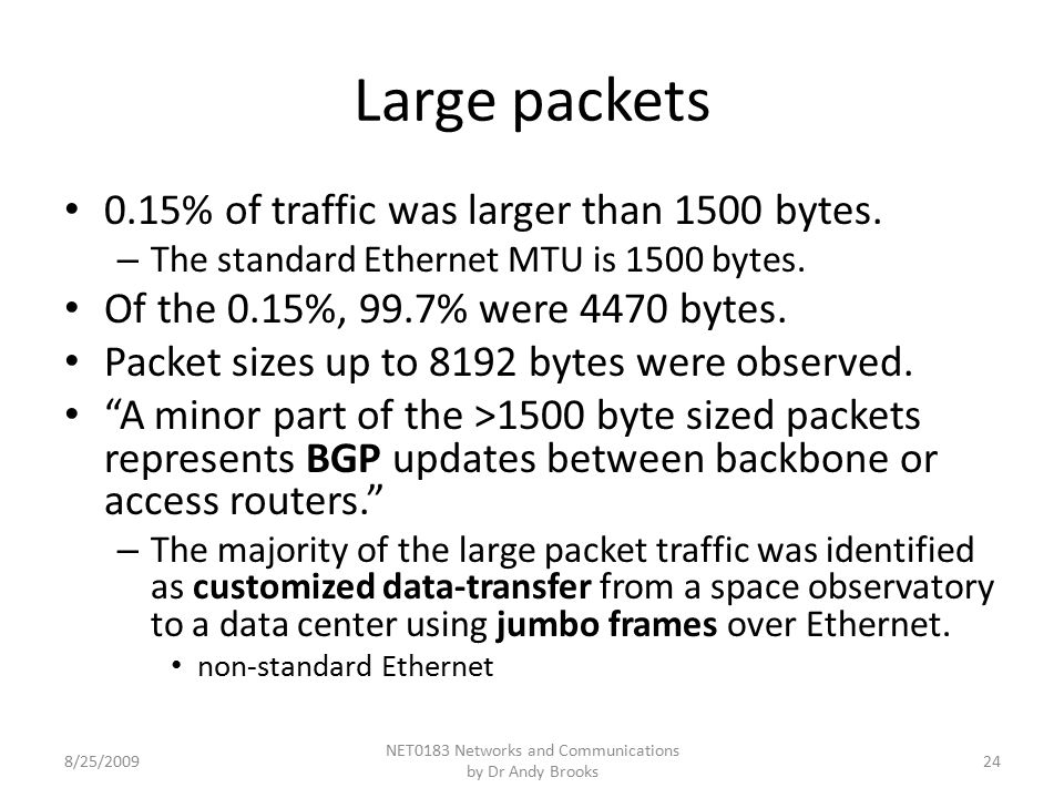 Large packets 0.15% of traffic was larger than 1500 bytes.
