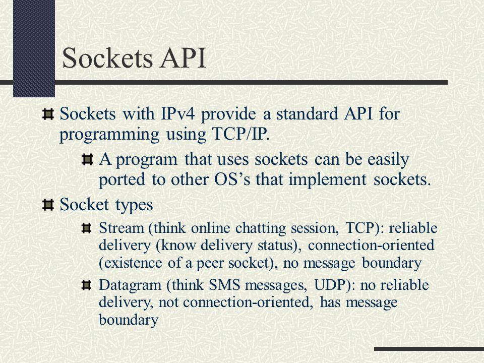 Sockets API Sockets with IPv4 provide a standard API for programming using TCP/IP.