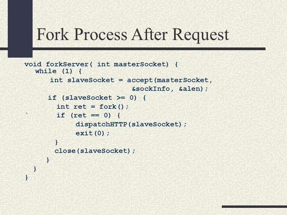 Fork Process After Request void forkServer( int masterSocket) { while (1) { int slaveSocket = accept(masterSocket, &sockInfo, &alen); if (slaveSocket >= 0) { int ret = fork(); ` if (ret == 0) { dispatchHTTP(slaveSocket); exit(0); } close(slaveSocket); }