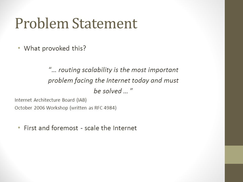 Problem Statement What provoked this.