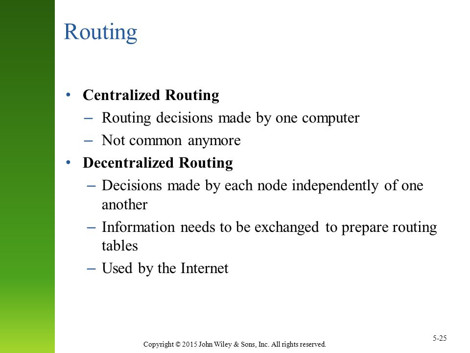 Copyright © 2015 John Wiley & Sons, Inc. All rights reserved. 5-25 Routing Centralized Routing – Routing decisions made by one computer – Not common a