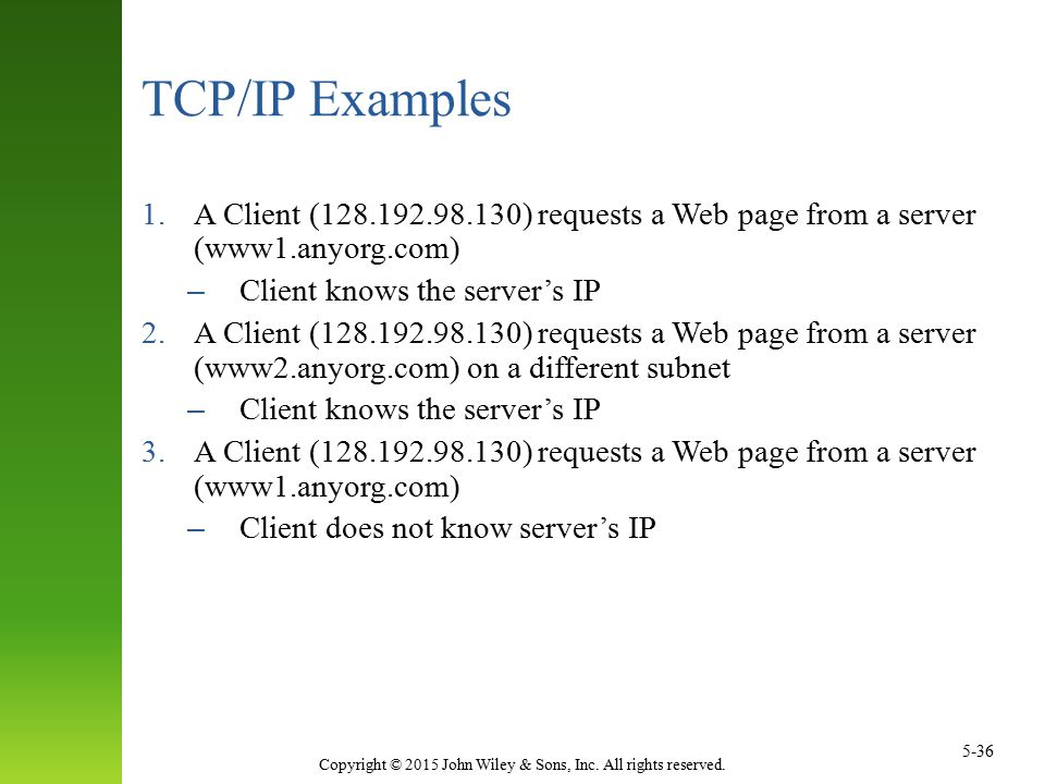 Copyright © 2015 John Wiley & Sons, Inc. All rights reserved. 5-36 TCP/IP Examples 1.A Client (128.192.98.130) requests a Web page from a server (www1
