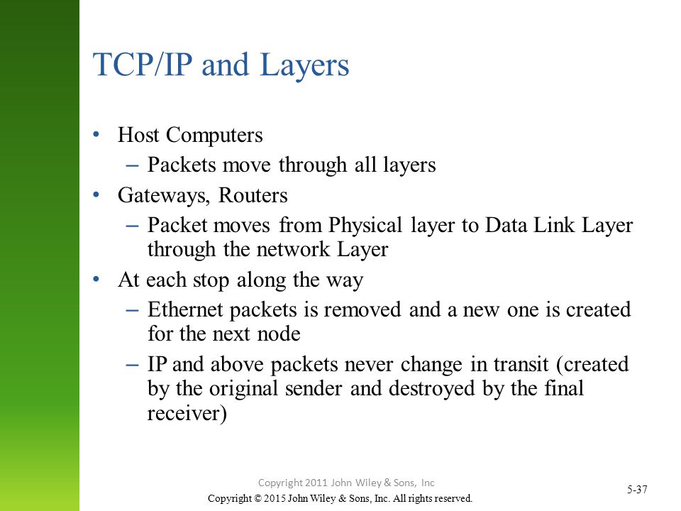 Copyright © 2015 John Wiley & Sons, Inc. All rights reserved. 5-37 TCP/IP and Layers Host Computers – Packets move through all layers Gateways, Router