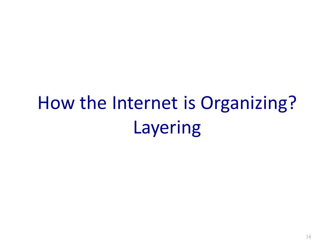 How the Internet is Organizing? Layering 16