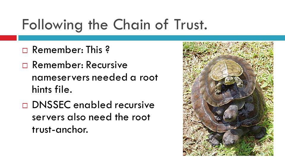 Following the Chain of Trust.  Remember: This ?  Remember: Recursive nameservers needed a root hints file.  DNSSEC enabled recursive servers also n