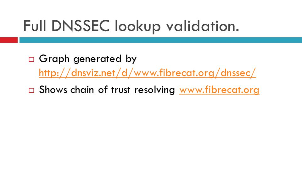 Full DNSSEC lookup validation.  Graph generated by http://dnsviz.net/d/www.fibrecat.org/dnssec/ http://dnsviz.net/d/www.fibrecat.org/dnssec/  Shows