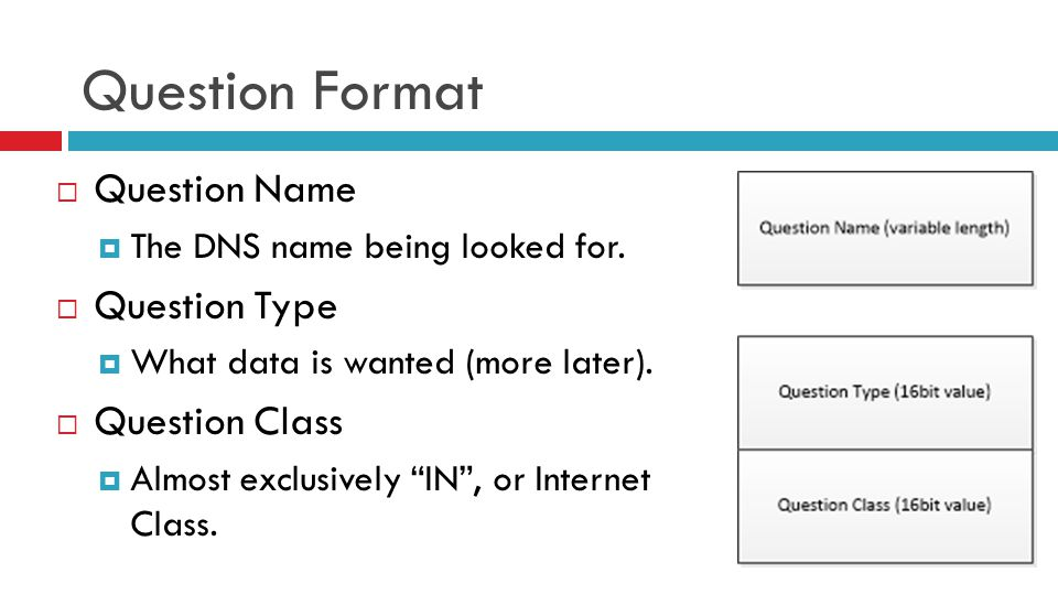 Question Format  Question Name  The DNS name being looked for.  Question Type  What data is wanted (more later).  Question Class  Almost exclusi