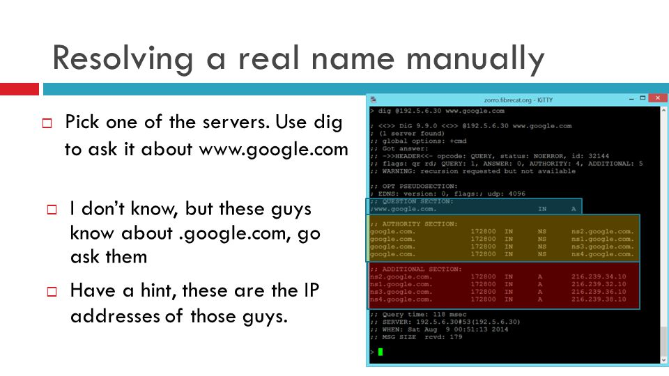Resolving a real name manually  Pick one of the servers. Use dig to ask it about www.google.com  I don't know, but these guys know about.google.com,