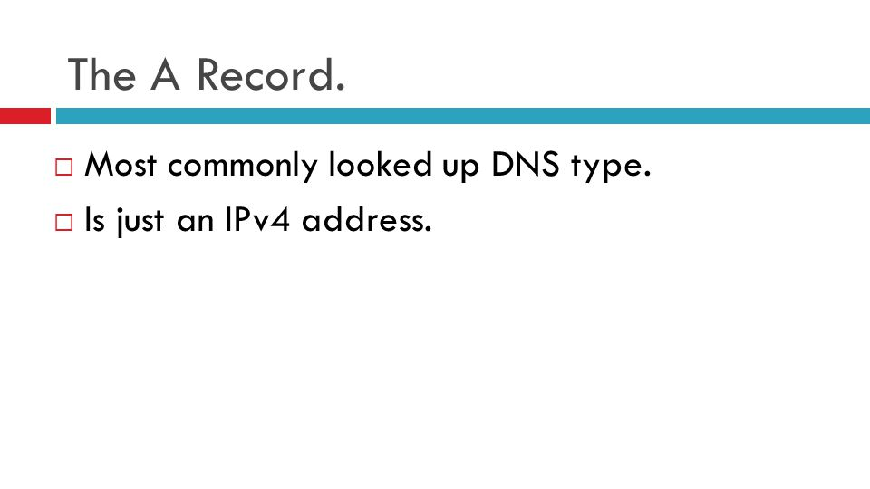 The A Record.  Most commonly looked up DNS type.  Is just an IPv4 address.