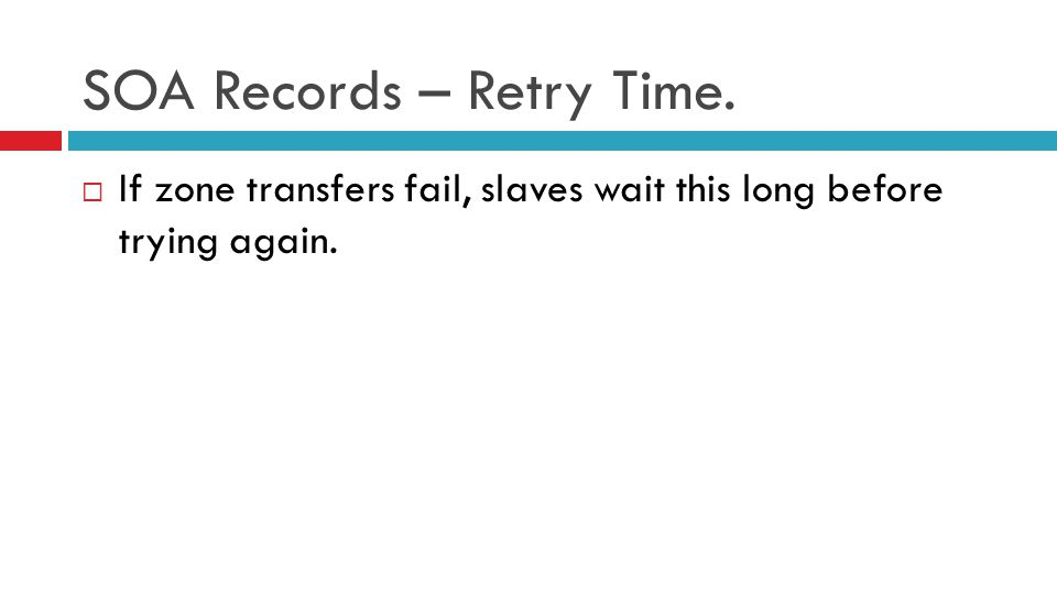SOA Records – Retry Time.  If zone transfers fail, slaves wait this long before trying again.