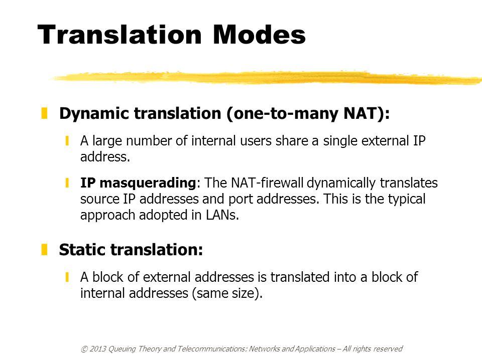 Translation Modes zDynamic translation (one-to-many NAT): yA large number of internal users share a single external IP address. yIP masquerading: The
