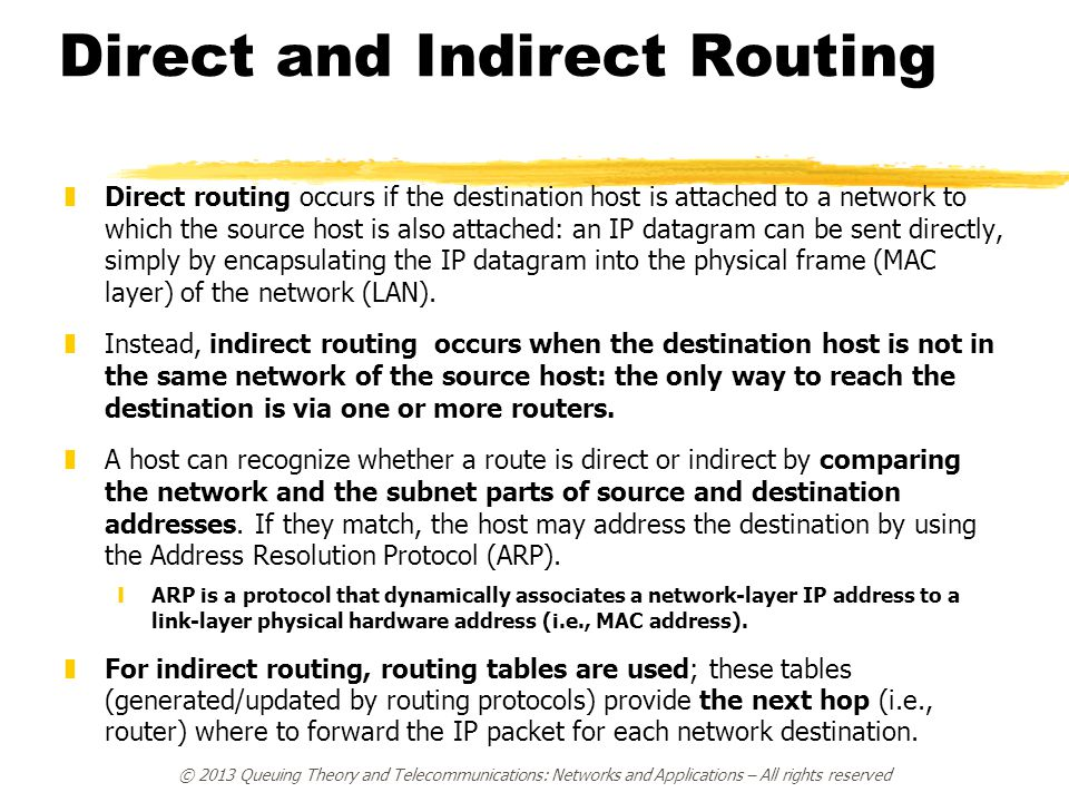 Direct and Indirect Routing zDirect routing occurs if the destination host is attached to a network to which the source host is also attached: an IP d