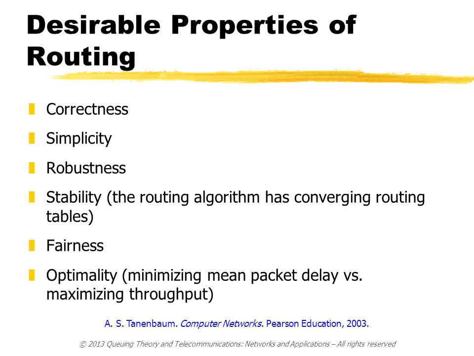 Desirable Properties of Routing zCorrectness zSimplicity zRobustness zStability (the routing algorithm has converging routing tables) zFairness zOptim