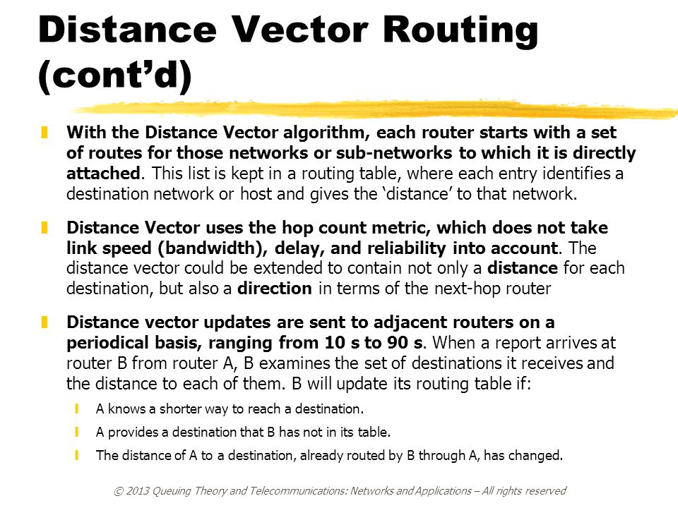 Distance Vector Routing (cont'd) zWith the Distance Vector algorithm, each router starts with a set of routes for those networks or sub-networks to wh
