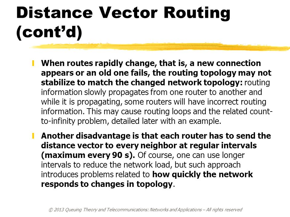 Distance Vector Routing (cont'd) yWhen routes rapidly change, that is, a new connection appears or an old one fails, the routing topology may not stab
