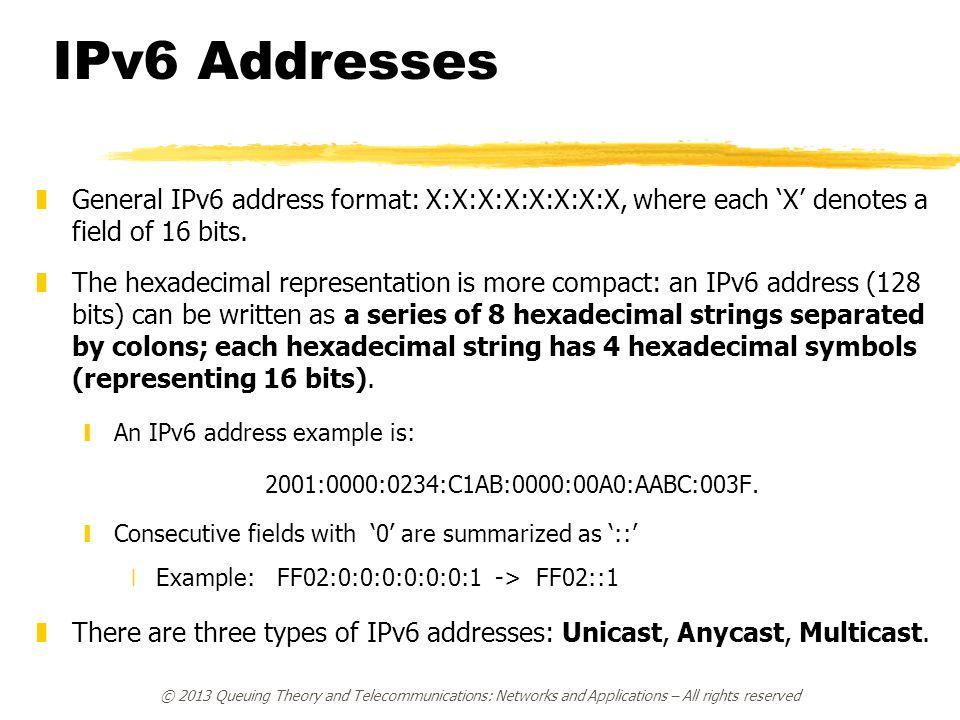 IPv6 Addresses zGeneral IPv6 address format: X:X:X:X:X:X:X:X, where each 'X' denotes a field of 16 bits. zThe hexadecimal representation is more compa