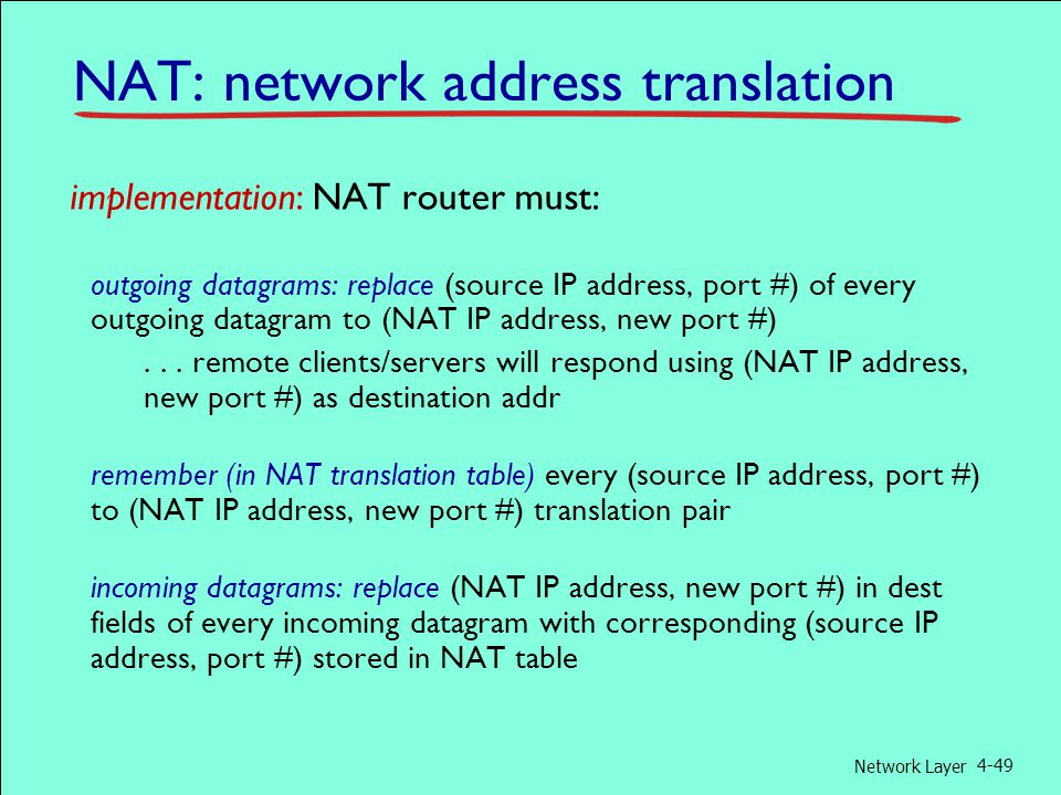 Network Layer 4-49 implementation: NAT router must: outgoing datagrams: replace (source IP address, port #) of every outgoing datagram to (NAT IP address, new port #)...
