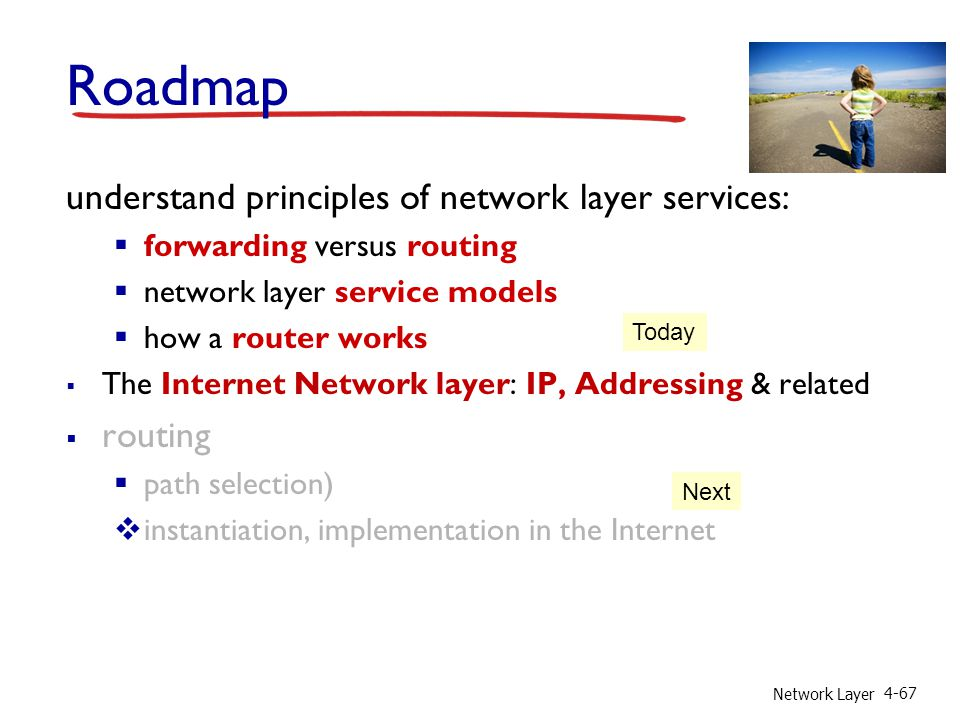 Network Layer 4-67 Roadmap understand principles of network layer services:  forwarding versus routing  network layer service models  how a router works  The Internet Network layer: IP, Addressing & related  routing  path selection)  instantiation, implementation in the Internet Today Next