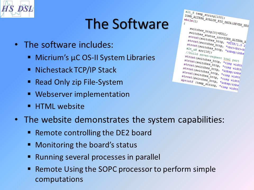 The Software The software includes:  Micrium's µC OS-II System Libraries  Nichestack TCP/IP Stack  Read Only zip File-System  Webserver implementa