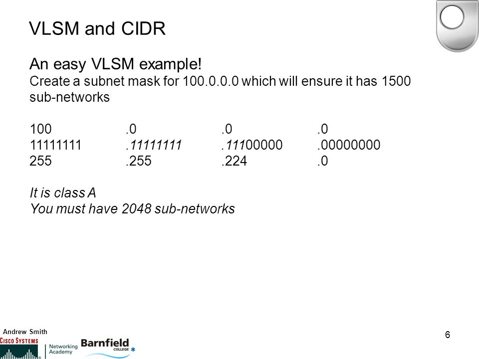 Andrew Smith 6 VLSM and CIDR An easy VLSM example.