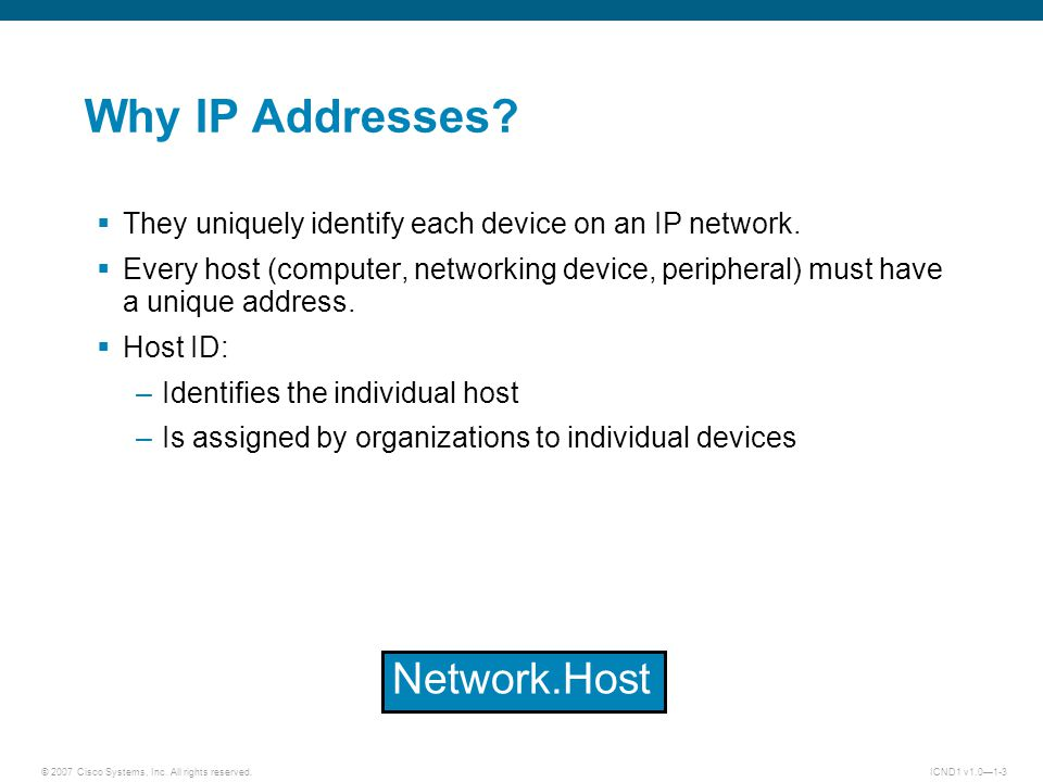 © 2007 Cisco Systems, Inc. All rights reserved.ICND1 v1.0—1-4 IP PDU Header