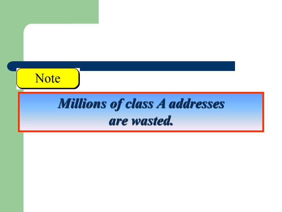 Millions of class A addresses are wasted.