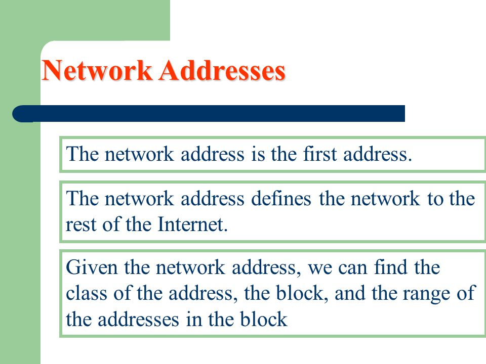 Network Addresses The network address is the first address. The network address defines the network to the rest of the Internet. Given the network add