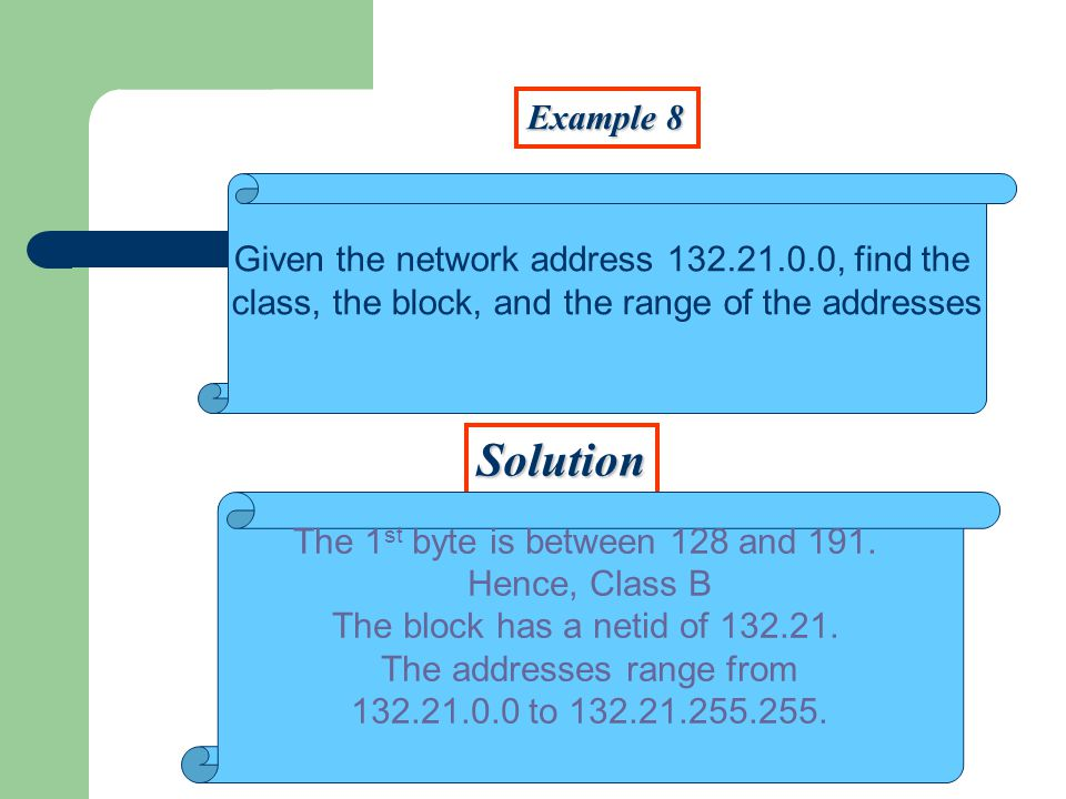 Example 8 Solution Given the network address 132.21.0.0, find the class, the block, and the range of the addresses The 1 st byte is between 128 and 19