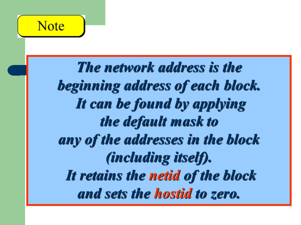 The network address is the beginning address of each block. It can be found by applying the default mask to any of the addresses in the block (includi