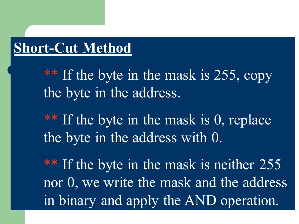 Short-Cut Method ** If the byte in the mask is 255, copy the byte in the address. ** If the byte in the mask is 0, replace the byte in the address wit