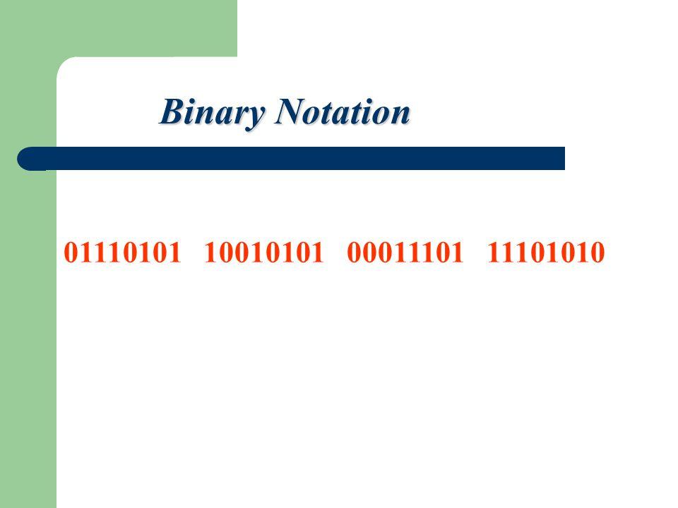 01110101 10010101 00011101 11101010 Binary Notation